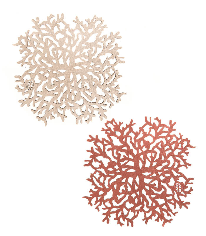 Portacalientes Coral C Coral-Champaña  Set x2  Mijal Gleiser