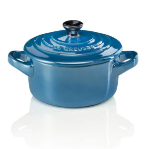 Mini Cocotte en Cerámica de Gres Redonda 10 cm Azul Marseille - Metallics Le Creuset